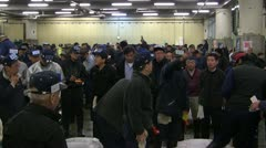 During Auction at Tsukiji Fish Market Stock Footage