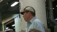 Auctioneer at Tsukiji Fish Market in Tokyo Stock Footage