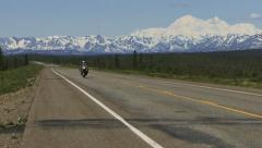 Bike Touring Motorcycle On Parks Highway by Denali - stock footage