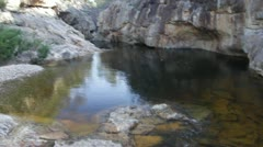 Pan looking down on waterfall to wide forest, Nethercote Falls, NSW, Australia - stock footage