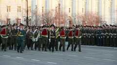 Military orchestra during parade - stock footage