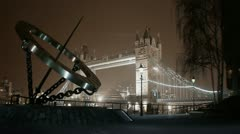 Tower bridge in London cloudy Night Stock Footage