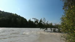 River - Lech - Flood - Wide and Powerful Stock Footage