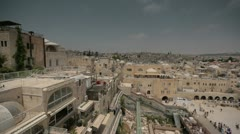 Jerusalem wide angle panoramic view of Wailing Wall Stock Footage