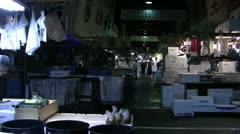 General shot of Tsukiji Fish Market Stock Footage