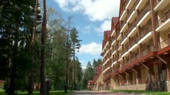 Hotel in the pine wood. Stock Footage