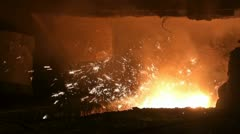 Smelting of liquid metal from blast furnace Stock Footage