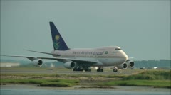 Saudi Arabian Boeing 747SP airplane Stock Footage