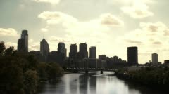 Skyline of Philadelphia, USA, at sunset - stock footage