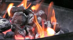 fire barbeque - stock footage