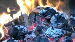 Barbeque fire  - stock footage