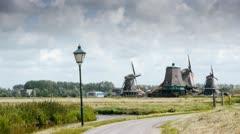 Wind mill landscape scenery Stock Footage