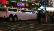 Stock Video Footage of Hummer Limo at Times Square