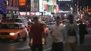 Stock Video Footage of Nightlife at Times Square