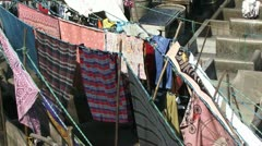Drying laundry in India Stock Footage