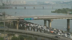 Traffic jam on city expressway during rush hour Stock Footage