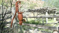 Old manual water pump far alone Stock Footage