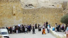 Pilgrims near Saint Savas monastery not far from Jerusalem in Paletine Stock Footage