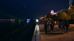 Evening Heihe Embankment with People Walking Stock Footage