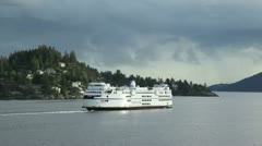 West vancouver, bc canada -- may 23 2012 bc ferry leaving horseshoe bay. Stock Footage