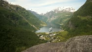 Geiranger view Norway Stock Footage