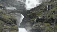 Trollstigen Stigfossen Bridge Norway Stock Footage