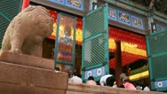 Asian women bowing down to pray Buddha in temple Stock Footage