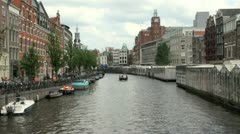 Canal in Amsterdam City, Holland, The Netherlands, Europe Stock Footage