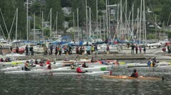 North vancouver b.c. canada - june 19 2012 deep cove kayak races. Stock Footage