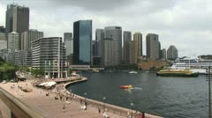 Sydney Harbour with cruise ship and ferry Stock Footage