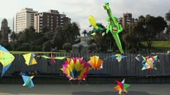 3D Kites flying in wind at StKilda foreshore, Victoria, Australia - stock footage