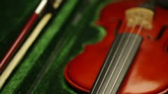 Violin in green case Stock Footage