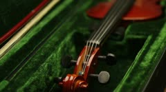 violin in green case - stock footage