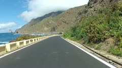 Driving near the ocean on Tenerife - stock footage