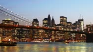 Stock Video Footage of Beautiful view of Manhattan skyline and Brooklyn bridge at sunset, time lapse