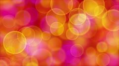 Red orange pink yellow circle bokeh lights loop Stock Footage