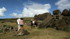 Easter Island Vinapu wall stone disc Stock Footage