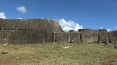 Easter Island Vinapu fitted huge stone wall 3 Stock Footage