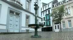 Water Fountain and Historic Buildings in Ghent City, Belgium Stock Footage
