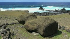 Easter Island Akahanga fallen moai by sea Stock Footage