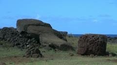 Easter Island Te Pito Kura fallen moai Stock Footage