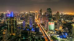 TIMELAPSE OF BANGKOK SKYLINE AT NIGHT Stock Footage