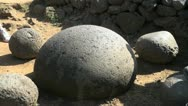 Easter Island rock orb navel of the world 3 Stock Footage