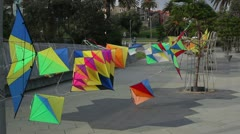 3D Kites flying in wind at StKilda foreshore, Victoria Australia. - stock footage