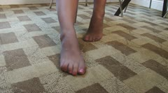 Pretty painted toes of latina woman in pantyhose Stock Footage