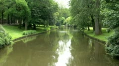 Tranquil Scene of Water and Trees Bruges City, Belgium Stock Footage