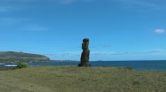 Easter Island Ahu Hanga Kio'e moai on bay zoom in 2a Stock Footage