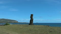 Easter Island Ahu Hanga Kio'e zoom in to face 3 Stock Footage