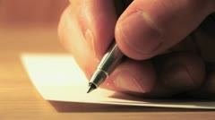 Writing a Letter - Extreme Close Up HD Stock Footage