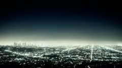 Los Angeles cityscape at night. - stock footage